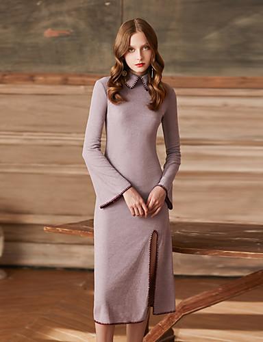 Damen Retro Etuikleid Kleid Einfarbig Midi Rundhalsausschnitt Hohe Taillenlinie
