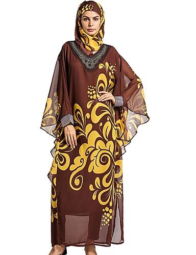 Damen Swing Kleid-Lässig/Alltäglich Blumen Rundhalsausschnitt Maxi Langärmelige Polyester Alle Jahreszeiten Mittlere Hüfthöhe
