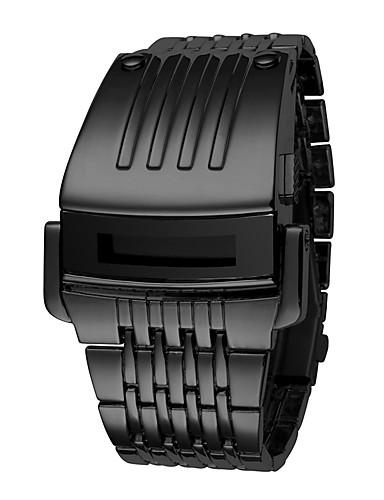 Męskie Cyfrowe Zegarek cyfrowy Chiński Kalendarz Chronograf Wodoszczelny Faza Księżyca LCD Świecący 304 Stal nierdzewna Pasmo Luksusowy