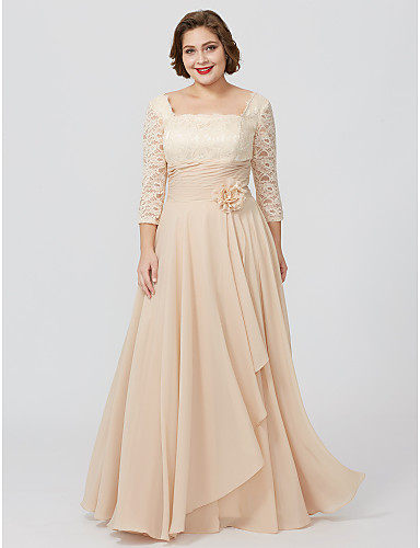 8d8f2d570e4f Plus Size Sheath / Column Square Neck Floor Length Chiffon Metallic Lace  Mother of the Bride Dress with Sash / Ribbon Flower by LAN TING BRIDE®
