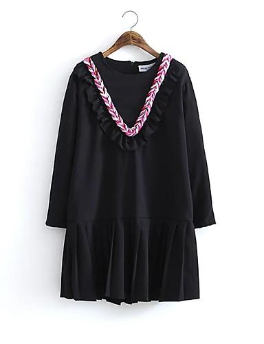 Damen Hülle Kleid-Ausgehen Lässig/Alltäglich Solide Einfarbig Rundhalsausschnitt Übers Knie Langarm Baumwolle Andere Mittlere Hüfthöhe