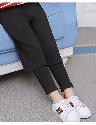 Spodnie Bawełna Rayon Dla dziewczynek Jendolity kolor Zima Jesień Na co dzień Black
