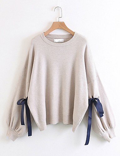 Damen Standard Pullover-Ausgehen Lässig/Alltäglich Solide Rundhalsausschnitt Langarm Baumwolle Andere Mittel Dick Mikro-elastisch