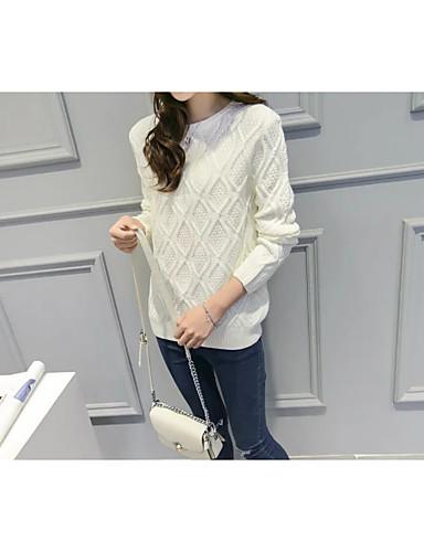 Damen Standard Pullover-Lässig/Alltäglich Solide Rundhalsausschnitt Langarm Andere Dünn Dehnbar