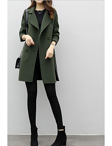 Damen Solide Street Schick Alltag Mantel,V-Ausschnitt Winter Herbst Langarm Lang Baumwolle Polyester