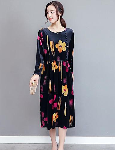 Damen Hülle Kleid-Lässig/Alltäglich Blumen Rundhalsausschnitt Midi Langarm Baumwolle Mittlere Hüfthöhe Mikro-elastisch Mittel