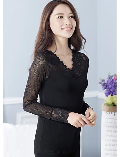 Damen Solide Niedlich Alltag T-shirt,Quadratischer Ausschnitt Langarm Polyester Undurchsichtig Mittel