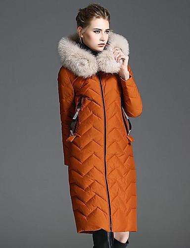 Damen Gefüttert Mantel Einfach Sexy Ausgehen Lässig/Alltäglich Solide-Daune Langarm