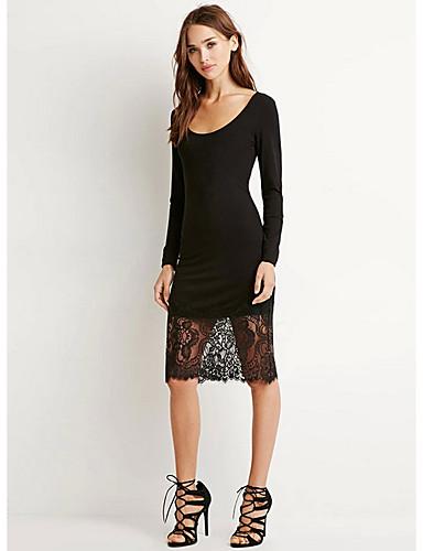 Damen Arbeit Baumwolle Das kleine Schwarze Kleid Solide Knielang Schulterfrei Hohe Taillenlinie