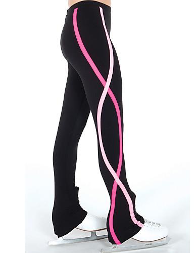 Pantalons de Patinage Artistique Femme Fille Patinage Pantalons / Surpantalons Leggings Rouge Bleu Spandex Elastique Entraînement Compétition Tenue de Patinage Rayure spirale Patinage sur glace