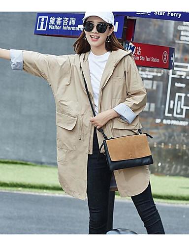 Damen Solide Einfach Retro Lässig/Alltäglich Trench Coat,Rundhalsausschnitt Herbst Langarm Standard Acryl Andere