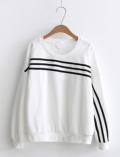 Damen Pullover Ausgehen Lässig/Alltäglich Niedlich Aktiv Solide Gestreift Mikro-elastisch Baumwolle Andere