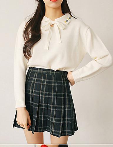 Damen Standard Pullover-Lässig/Alltäglich Einfach Solide Hemdkragen Langarm Baumwolle Herbst Mittel Mikro-elastisch
