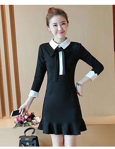 Damen Hülle Kleid-Ausgehen Solide Hemdkragen Übers Knie Langarm Polyester Hohe Taillenlinie Mikro-elastisch Mittel