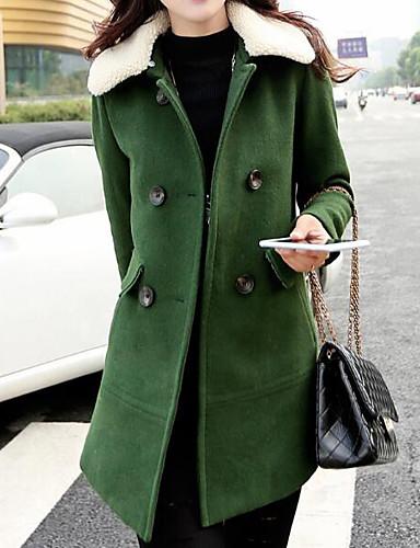 Damen Solide Einfach Ausgehen Lässig/Alltäglich Mantel,Hemdkragen Winter Herbst Langarm Lang Baumwolle