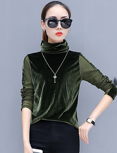 Damen Solide Retro Ausgehen T-shirt, Ständer Langarm Polyester