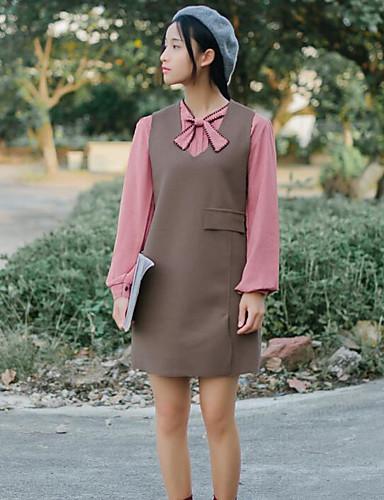 Damen Lose Kleid-Ausgehen Solide Rundhalsausschnitt Übers Knie Langarm Baumwolle Mittlere Hüfthöhe Mikro-elastisch Mittel