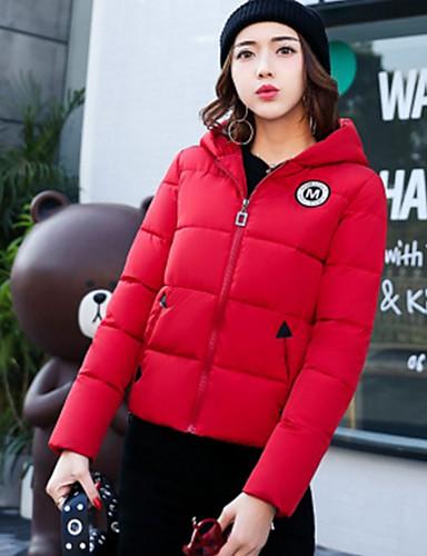 Damen Gefüttert Mantel Einfach Ausgehen Lässig/Alltäglich Solide-Polyester Langarm