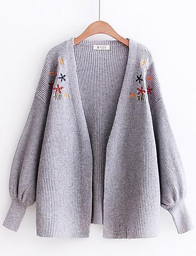 Damen Standard Strickjacke-Lässig/Alltäglich Ausgehen Solide V-Ausschnitt Langarm Kaninchen-Pelz Baumwolle Andere Mittel Dünn