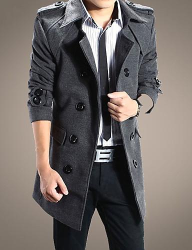 Trencz Normalny Męskie Moda miejska Zima Jesień Codzienny Praca Otwate Jendolity kolor Bawełna Poliester