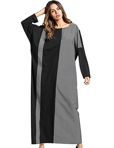 Damen Swing Kleid-Lässig/Alltäglich Einfarbig Rundhalsausschnitt Maxi Langärmelige Baumwolle Alle Jahreszeiten Mittlere Hüfthöhe
