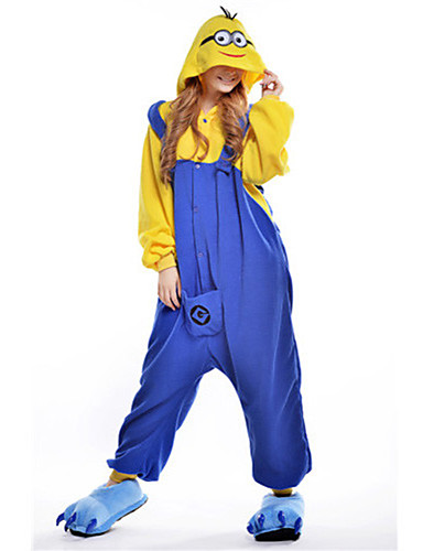 Adults  Kigurumi Pajamas Anime Mini Yellow Men Movie   TV Theme Costumes  Onesie Pajamas Polar Fleece Blue Cosplay For Men and Women Animal Sleepwear  Cartoon ... 70d48f26b