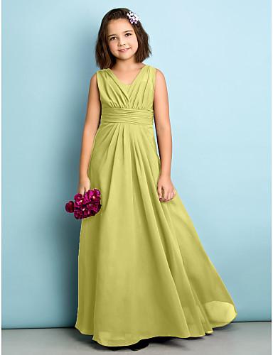 billige Bryllupsfestkjoler-A-linje V-hals Gulvlang Chiffon Junior brudepikekjole med Kryssdrapering av LAN TING BRIDE® / Naturlig / Mini-meg