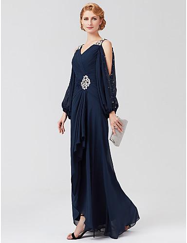 0e3ff9e7b6 A-vonalú V-alakú Aszimmetrikus Sifon Örömanya ruha val vel Gyöngydíszítés /  Pántlika / szalag / Rakott által LAN TING BRIDE® / Illúzió