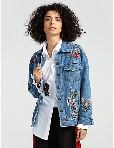 Damen Solide Street Schick Alltag Standard Jeansjacke, Hemdkragen Frühling Herbst Baumwolle