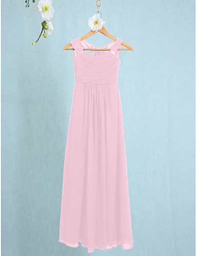 e2e7fbc9a4952 Sheath / Column Straps Ankle Length Chiffon Junior Bridesmaid Dress with  Ruched by LAN TING BRIDE® / Natural