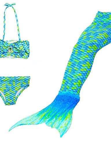 povoljno Najprodavanije-Djeca Djevojčice Slatka Style Plaža Rep sirene Mala sirena Jednobojni Crtani film Postupno Kolaž Poliester Najlon Kupaći kostim Duga