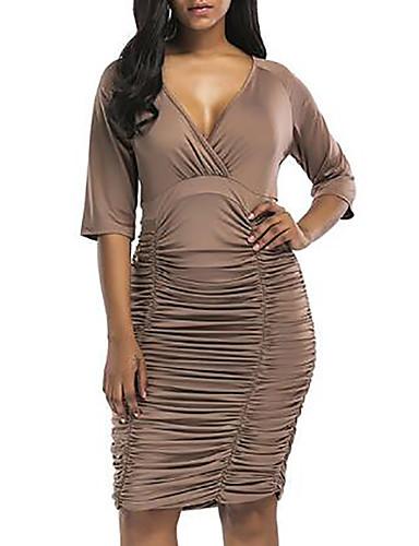 f4e5b090db9 Women s Plus Size Daily   Going out Sheath Dress - Solid Colored V Neck  Summer Gray Purple Fuchsia XL XXL XXXL