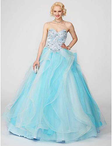 Ball Gown Sweetheart Neckline Sweep / Brush Train Satin / Tulle Formal Evening Dress with Beading / Appliques / Ruffles by TS Couture® / Lace Up / Open Back