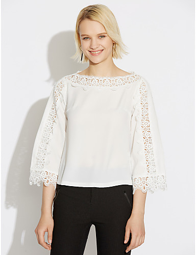 Women's Blouse - Solid Colored Boat Neck