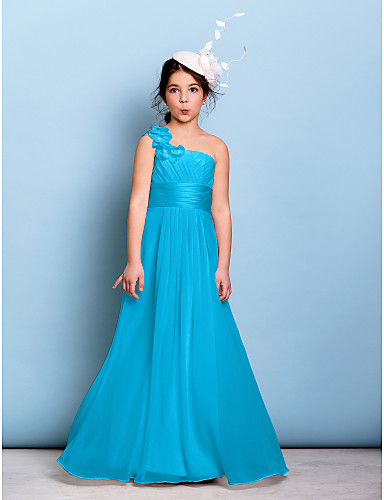 38c5cffd8 A-Line One Shoulder Floor Length Chiffon Junior Bridesmaid Dress with Sash  / Ribbon / Criss Cross / Ruched by LAN TING BRIDE® / Natural