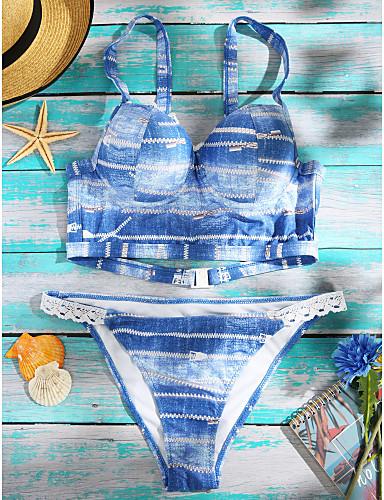 Naisten Bikini Uima-asut Kukka-aihe Retro Painettu Hihnoilla Sininen