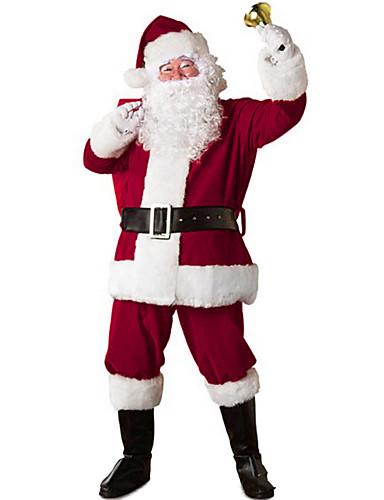 voordelige Kerst Kostuums-Kerstmanpakken Kerstman Cosplay Kostuums Kerstfeest Artikelen Heren Kerstmis Kerstmis Halloween Festival / Feestdagen Polyesteri Outfits Rood Patchwork