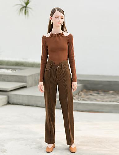 Damskie Vintage Prosta Spodnie Prążki