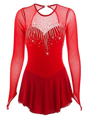 robe de patinage artistique femme fille patinage robes rouge spandex strass haute lasticit. Black Bedroom Furniture Sets. Home Design Ideas