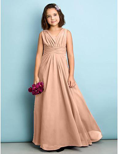 levne Šaty na svatební večírek-A-Linie Do V Na zem Šifón Šaty pro malou družičku s Křížení podle LAN TING BRIDE® / Přírodní / Mini já