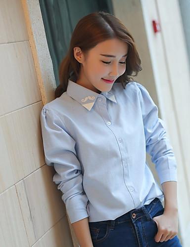 levne Dámské topy-Dámské - Jednobarevné Košile Bavlna Vodní modrá M