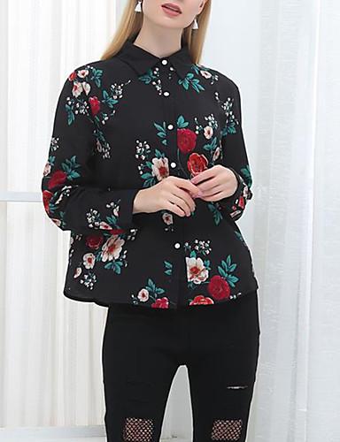Koszula Damskie Vintage Kołnierzyk koszuli Kwiaty Poliester