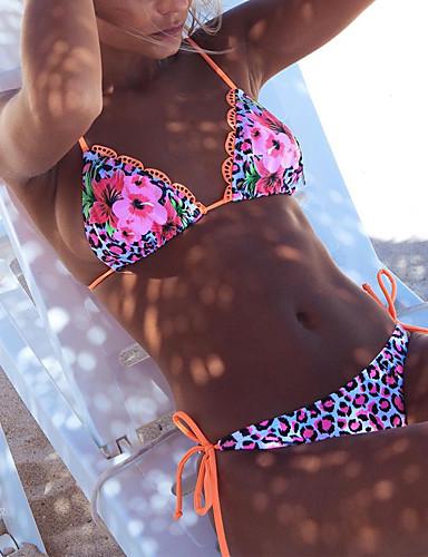 Dame Med stropper Bikini - Ensfarvet Blomstret Farveblok, Trykt mønster