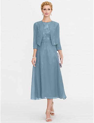 voordelige Wrap Dresses-A-lijn Illusie Hals Over de knie Chiffon / Corded Lace Bruidsmoederjurken met Kant / Plooien door LAN TING BRIDE®