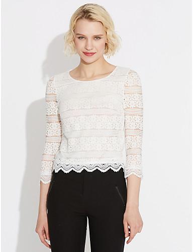 Damen Stickerei Bluse Spitze Ausgehöhlt Kunstseide Polyester