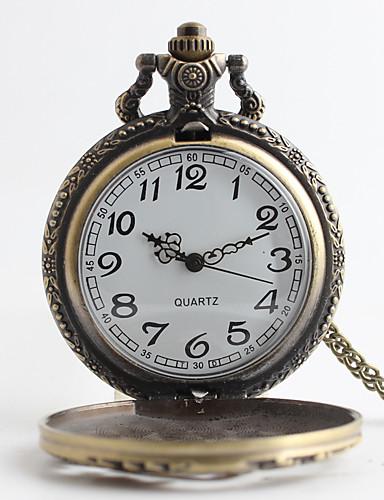 Hombre Reloj de Bolsillo Japonés Cuarzo 30 m Reloj Casual Aleación Banda Analógico Lujo Vintage Bronce Un año Vida de la Batería