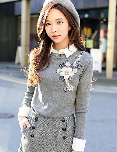 Недорогие Распродажа лучших свитеров-Жен. На выход Винтаж Пуловер - Однотонный, Бусины / Цветы