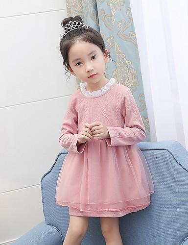 Sukienka Bawełna Poliester Dziewczyny Urodziny Codzienne Jendolity kolor Wiosna Jesień Długi rękaw Prosty Blushing Pink