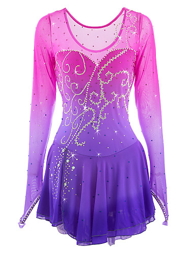 Figure Skating Dress Women's / Girls' Ice Skating Dress Pink / Purple Spandex Rhinestone High Elasticity Performance Skating Wear Handmade