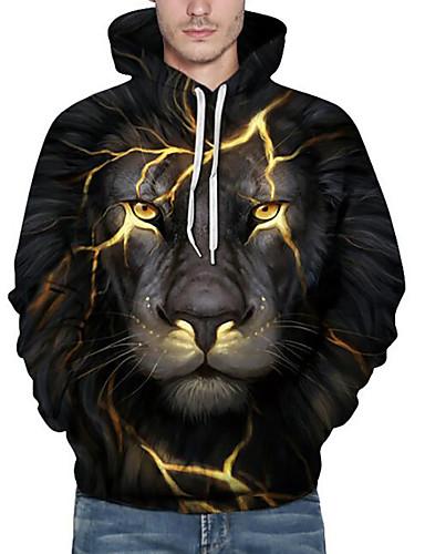 cheap $20-$25-Men's Plus Size Active Long Sleeve Loose Hoodie & Sweatshirt - 3D / Animal Lion, Print Hooded Black XL / Fall / Winter